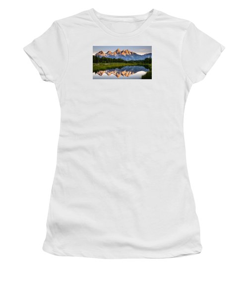 Women's T-Shirt (Junior Cut) featuring the photograph Grand Teton Awakening by Dan Mihai
