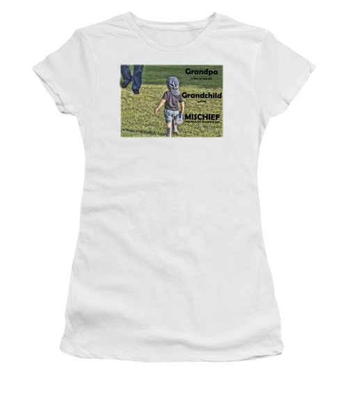 Grandpa Helps With Mischief Women's T-Shirt (Athletic Fit)