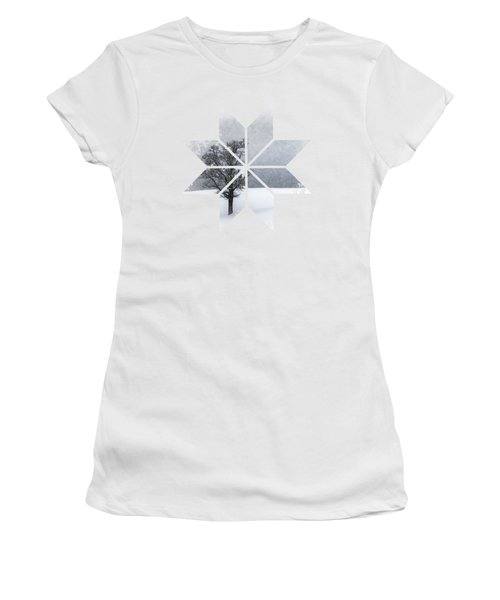 Graphic Art Snowflake Lonely Tree Women's T-Shirt