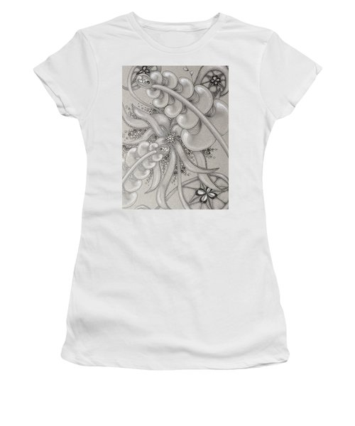 Gray Garden Explosion Women's T-Shirt (Athletic Fit)