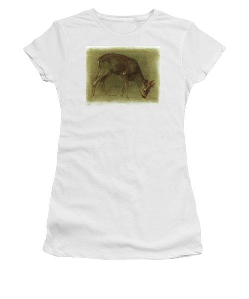 Grazing Roe Deer Oil Painting Women's T-Shirt