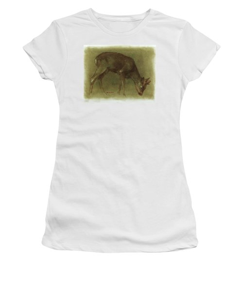 Grazing Roe Deer Oil Painting Women's T-Shirt (Athletic Fit)