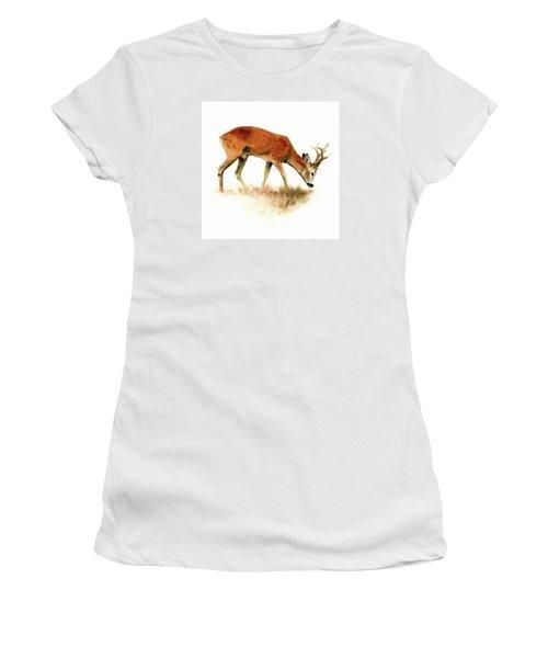 Grazing Roebuck Watercolor Women's T-Shirt (Athletic Fit)