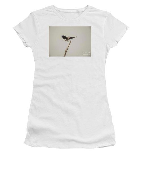 Women's T-Shirt (Junior Cut) featuring the photograph Great Blue Heron Landing by David Bearden