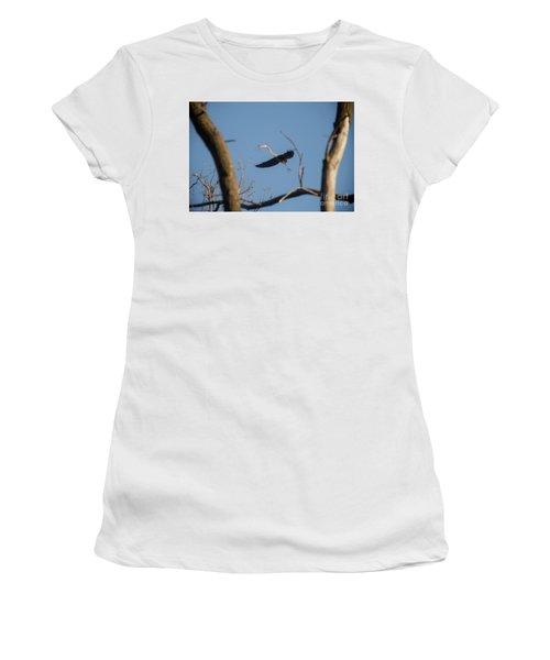 Women's T-Shirt (Junior Cut) featuring the photograph Great Blues Nesting by David Bearden
