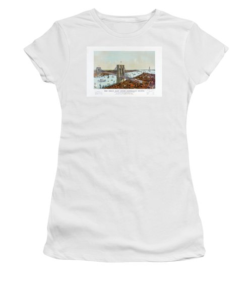 Great East River Suspension Bridge 1892 Women's T-Shirt (Junior Cut) by Carsten Reisinger