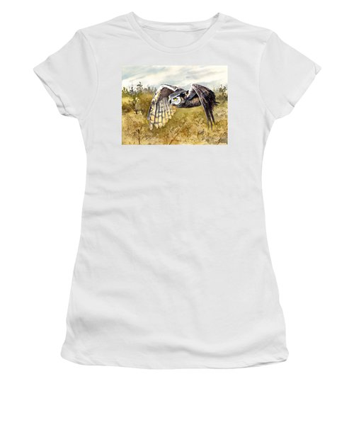 Great Horned Owl In Flight Women's T-Shirt (Athletic Fit)