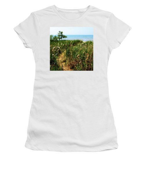 Women's T-Shirt (Athletic Fit) featuring the photograph Great Lake Beach Path by Michelle Calkins