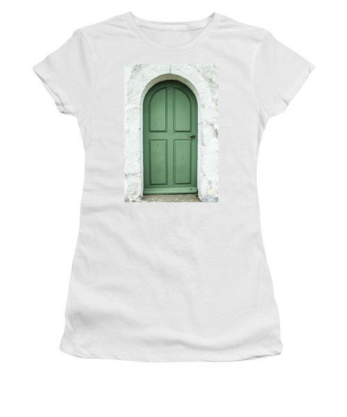 Green Church Door Iv Women's T-Shirt (Junior Cut) by Helen Northcott