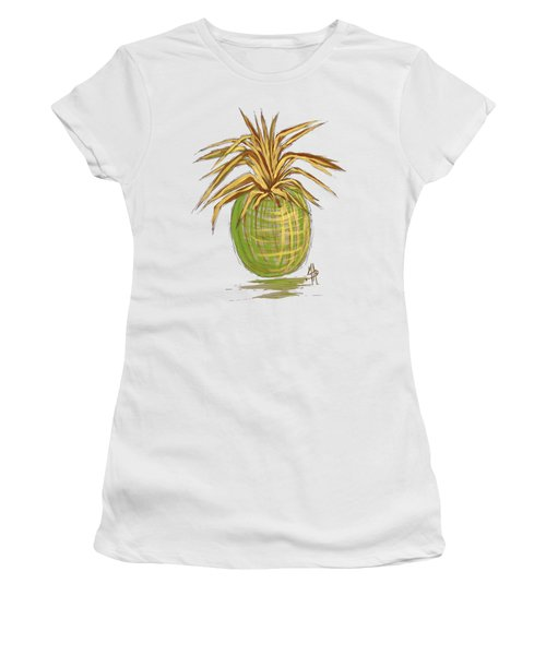 Green Gold Pineapple Painting Illustration Aroon Melane 2015 Collection By Madart Women's T-Shirt (Junior Cut) by Megan Duncanson