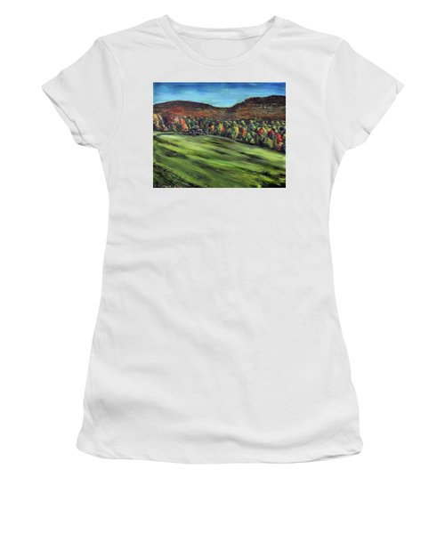 Women's T-Shirt (Junior Cut) featuring the painting Green Mountain Retreat by Denny Morreale