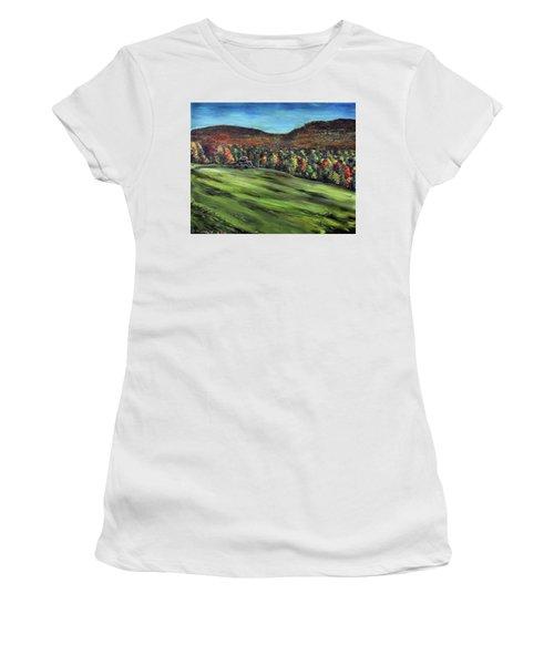 Green Mountain Retreat Women's T-Shirt (Junior Cut) by Denny Morreale