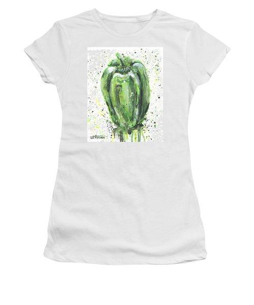 Green Pepper Women's T-Shirt (Junior Cut) by Arleana Holtzmann