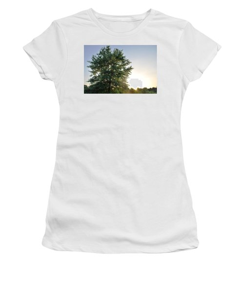 Green Tree Bright Sunshine Background Women's T-Shirt (Athletic Fit)