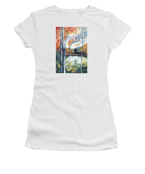 Women's T-Shirt (Junior Cut) featuring the painting Greenbriar River, Wv 2 by Katherine Miller