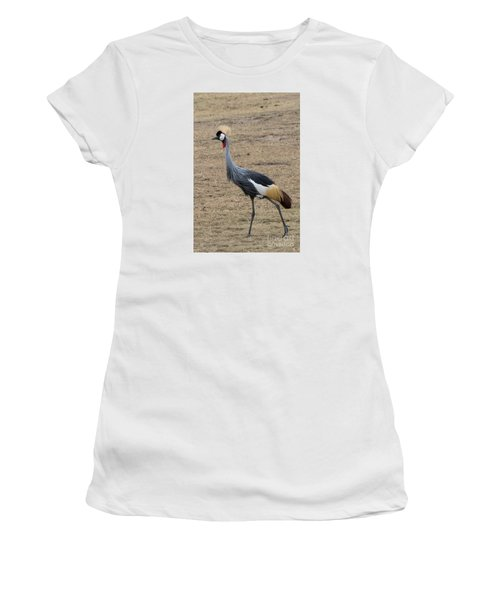 Women's T-Shirt (Junior Cut) featuring the photograph Grey Crowned Crane In The Wild by Pravine Chester