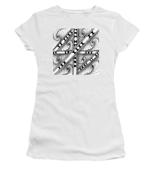Women's T-Shirt (Athletic Fit) featuring the drawing Gridlock by Jan Steinle