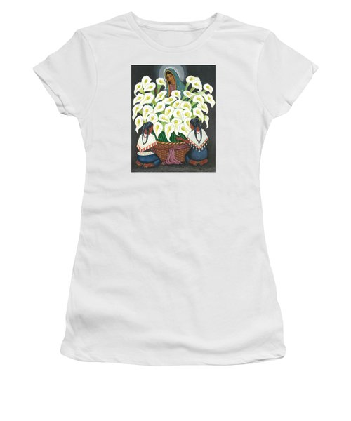 Guadalupe Visits Diego Rivera Women's T-Shirt (Junior Cut) by James Roderick