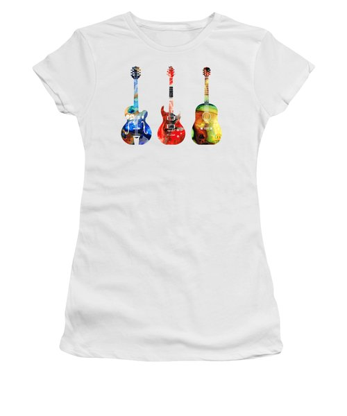 Guitar Threesome - Colorful Guitars By Sharon Cummings Women's T-Shirt