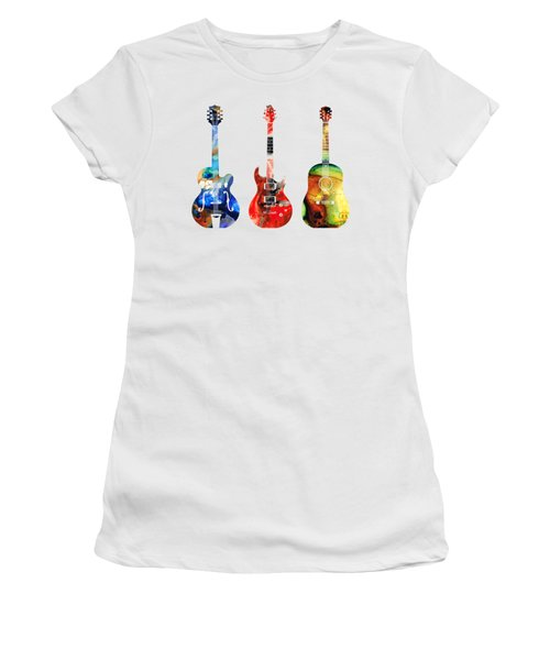 Guitar Threesome - Colorful Guitars By Sharon Cummings Women's T-Shirt (Junior Cut)