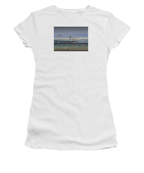 Gulls Flying By The Bridge At The Straits Of Mackinac Women's T-Shirt (Junior Cut) by Randall Nyhof