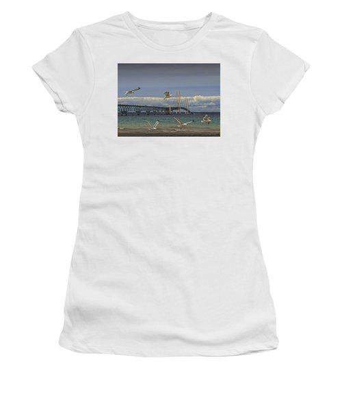 Gulls Flying By The Bridge At The Straits Of Mackinac Women's T-Shirt