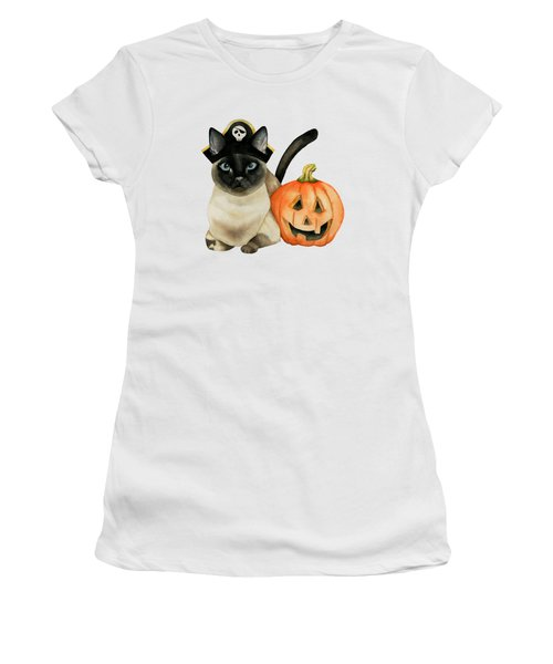 Halloween Siamese Cat With Jack O' Lantern Women's T-Shirt (Athletic Fit)