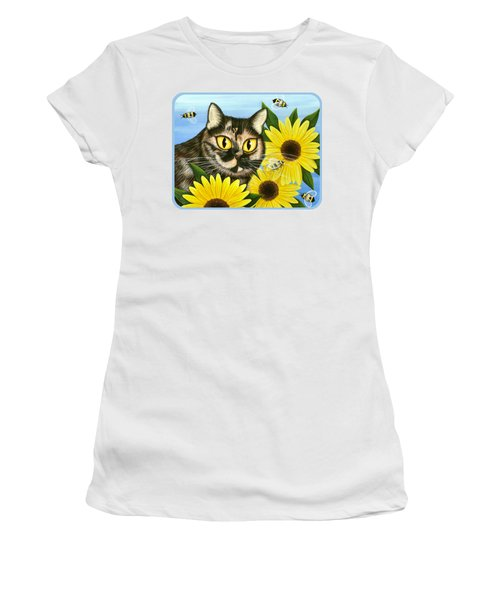 Hannah Tortoiseshell Cat Sunflowers Women's T-Shirt
