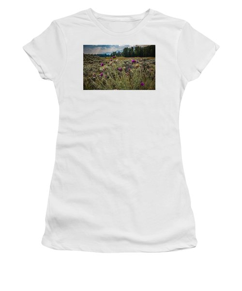 Happier In The Mountains Women's T-Shirt (Junior Cut) by Cathy Donohoue