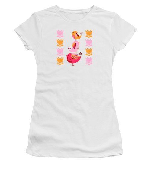 Happy Pink And Orange Birds And Blooms Women's T-Shirt