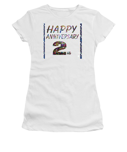 Happy Second 2nd Anniversary Celebrations Design On Greeting Cards T-shirts Pillows Curtains Phone   Women's T-Shirt
