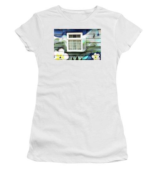 Happy Window Women's T-Shirt (Junior Cut) by Haleh Mahbod