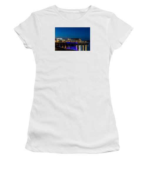 Harbor Lights During Blue Hour Women's T-Shirt (Junior Cut) by Rob Green