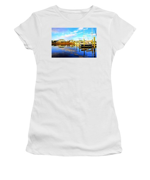 Harbour Reflections Women's T-Shirt (Junior Cut) by Shelia Kempf