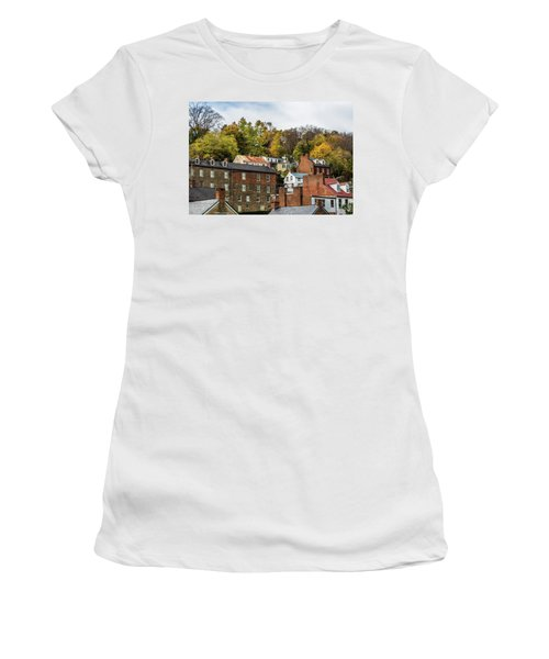 Women's T-Shirt (Athletic Fit) featuring the photograph Harpers Ferry In Autumn by Ed Clark