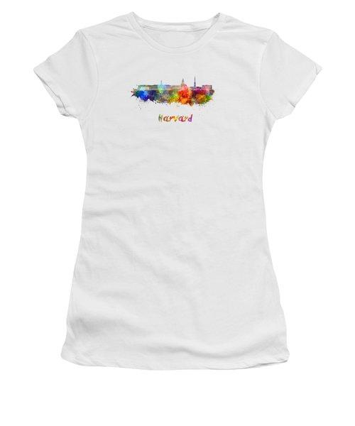 Harvard Skyline In Watercolor Women's T-Shirt (Athletic Fit)