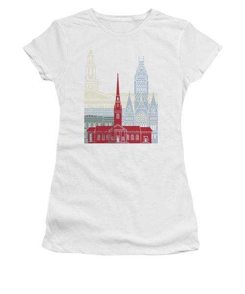 Harvard Skyline Poster Women's T-Shirt (Junior Cut) by Pablo Romero