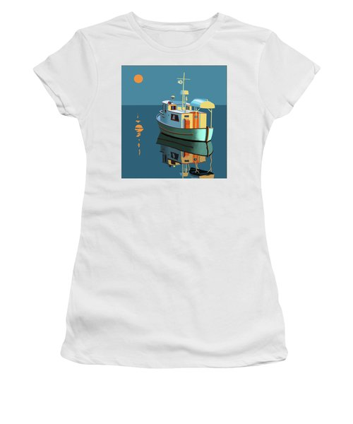 Women's T-Shirt (Junior Cut) featuring the painting Harvest Moon by Gary Giacomelli
