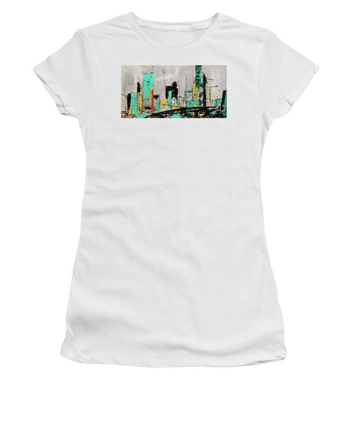 Women's T-Shirt (Junior Cut) featuring the painting Hashtag City by Carmen Guedez
