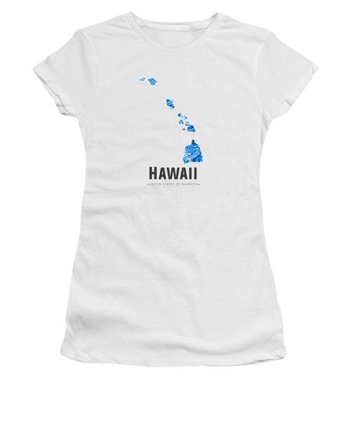 Hawaii Map Art Abstract In Blue Women's T-Shirt