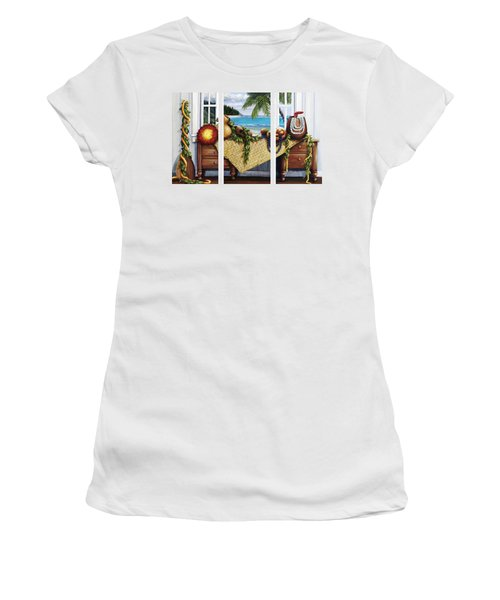 Hawaiian Still Life With Haleiwa On My Mind Women's T-Shirt (Athletic Fit)