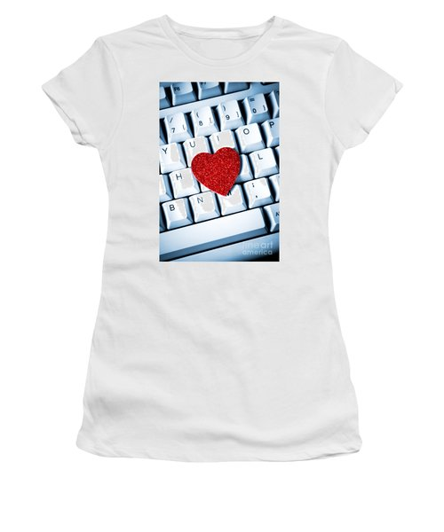 Heart On Keyboard Women's T-Shirt (Athletic Fit)