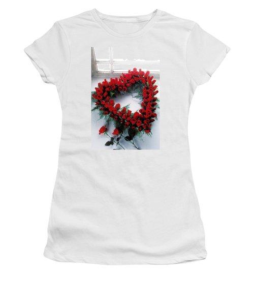 Heart Shape Made Of Roses Women's T-Shirt