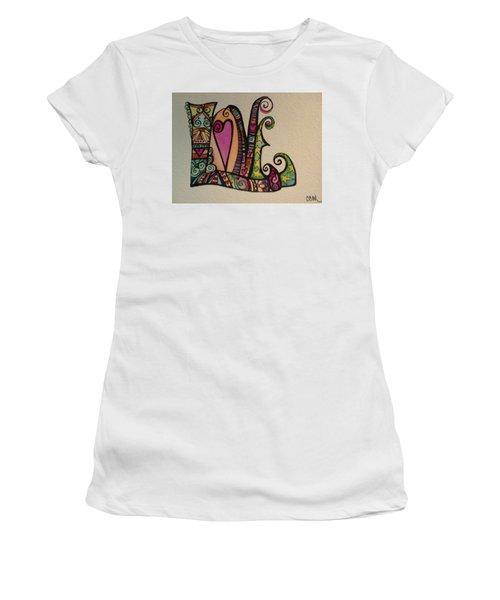 Hearts Women's T-Shirt (Junior Cut) by Claudia Cole Meek
