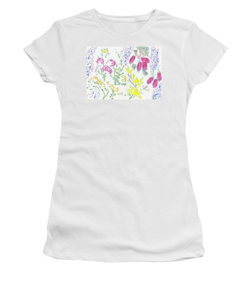 Heather And Gorse Watercolor Illustration Pattern Women's T-Shirt