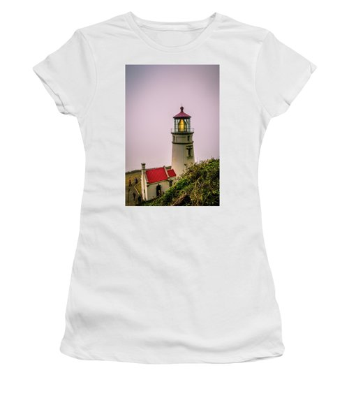 Heceta Head Lighthouse In The Fog Women's T-Shirt