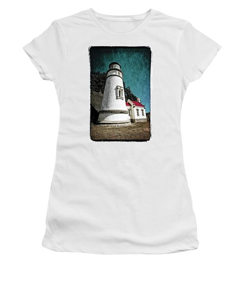 Women's T-Shirt (Athletic Fit) featuring the photograph Hecitia Head Lighthouse by Jeffrey Jensen