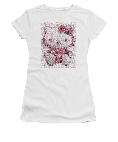 Hello Kitty Button Mosaic Women's T-Shirt (Junior Cut) by Paul Van Scott