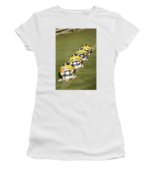 Helmets On Yard Line Women's T-Shirt (Athletic Fit)