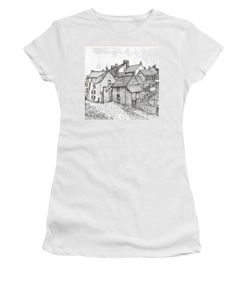 Women's T-Shirt (Junior Cut) featuring the drawing Hemsley Village - In Yorkshire England  by Carol Wisniewski